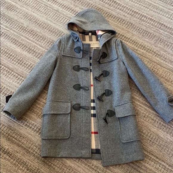 Burberry checker duffle wool trench coat
